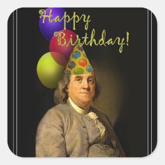 Grattis på födelsedagen från Ben Franklin Fyrkantigt Klistermärke
