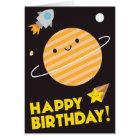 Grattis på födelsedagen i utrymme - Kawaii planet Hälsningskort