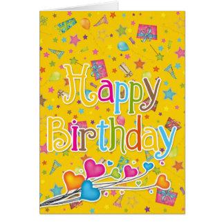 Grattis på födelsedagen i vibrerande färger hälsningskort