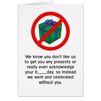 Grattis på födelsedagen - ingen presenter hälsningskort
