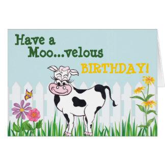 Grattis på födelsedagen - ko & FlowersCustomizable Hälsningskort