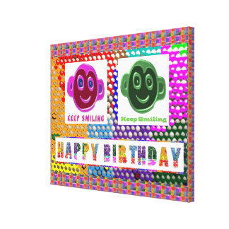 Grattis på födelsedagen:  Le ansikten Sträckt Kanvastryck