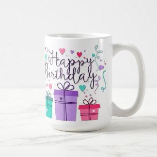 Grattis på födelsedagen med gåvor kaffemugg