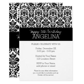 Grattis på födelsedagen med moderiktig svartvit 12,7 x 17,8 cm inbjudningskort