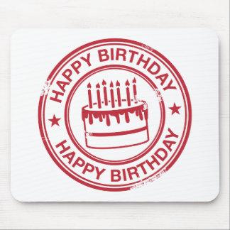 Grattis på födelsedagen - röd effekt för rubber musmatta