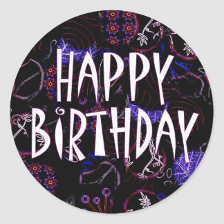 Grattis på födelsedagen runt klistermärke