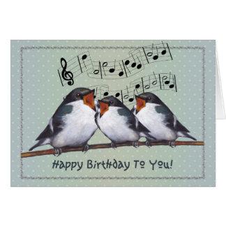 Grattis på födelsedagen Sjunga för tre fåglar Mu Hälsningskort