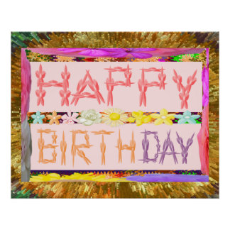 Grattis på födelsedagen skrivar den guld- poster