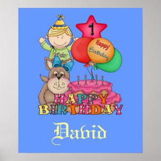 Grattis på födelsedagen sväller årig pojke 1 affischer