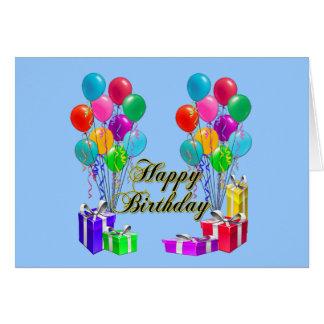 Grattis på födelsedagen sväller och framlägger hälsningskort