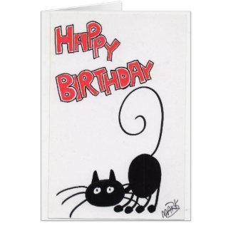 Grattis på födelsedagen - svart katt för tecknad hälsningskort