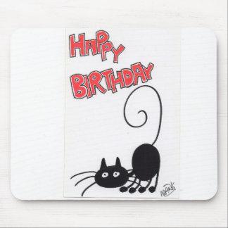 Grattis på födelsedagen - svart katt för tecknad musmatta