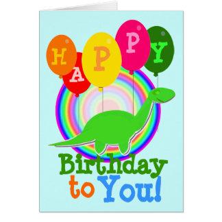 Grattis på födelsedagen till dig grönttecknadDinos Hälsnings Kort