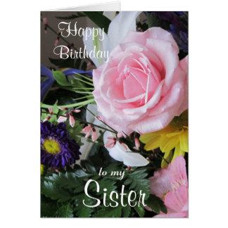Grattis på födelsedagen till min Syster-Rosor Hälsningskort
