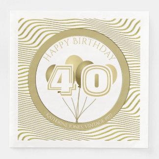 Grattis på födelsedagen: Vit och guld någon åldras Servetter