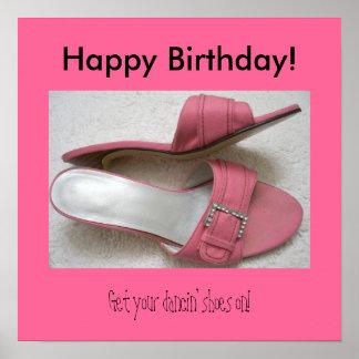 Grattis på födelsedagenaffisch, rosa häl poster