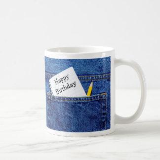 Grattis på födelsedagenanteckningsbok i fick- kaffemugg