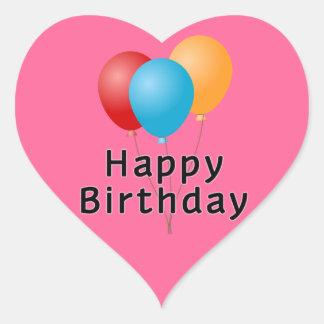 Grattis på födelsedagenballonger hjärtformat klistermärke