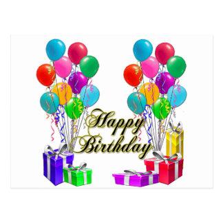 Grattis på födelsedagenballonger och presenter vykort