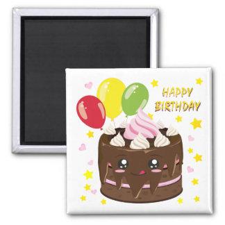 Grattis på födelsedagenchokladtårta, kawaii magnet