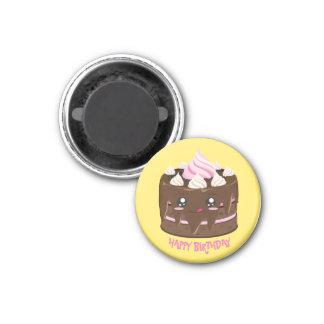 Grattis på födelsedagenchokladtårta, kawaii, rosa magnet