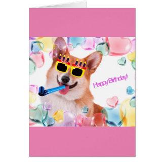 Grattis på födelsedagenCorgi med exponeringsglas Hälsningskort