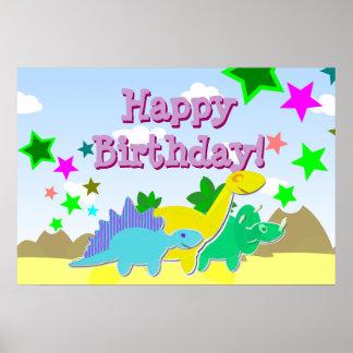 Grattis på födelsedagenDinosaursaffisch Affisch