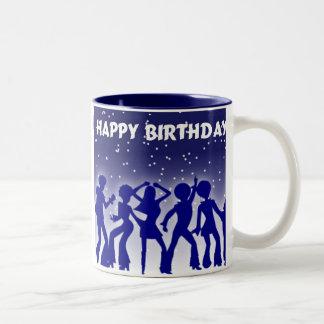 Grattis på födelsedagendiskodansare Två-Tonad mugg
