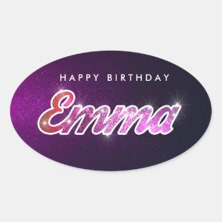Grattis på födelsedagenEmma klistermärke