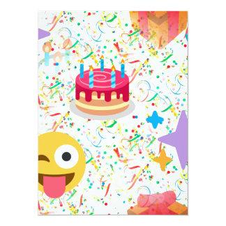 grattis på födelsedagenemoji 14 x 19,5 cm inbjudningskort