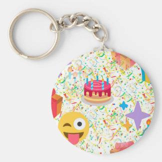 grattis på födelsedagenemoji rund nyckelring