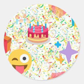 grattis på födelsedagenemoji runt klistermärke