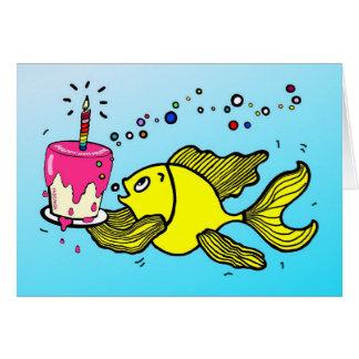 Grattis på födelsedagenfisk - roligt tecknadhälsni hälsningskort
