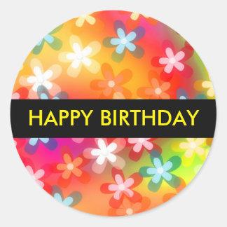 Grattis på födelsedagengåvaklistermärke runt klistermärke