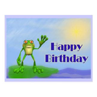 Grattis på födelsedagengroda vykort