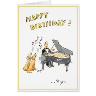 Grattis på födelsedagenhälsningkort för musikälska hälsningskort