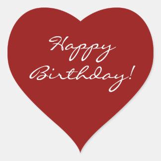 Grattis på födelsedagenhjärta hjärtformat klistermärke
