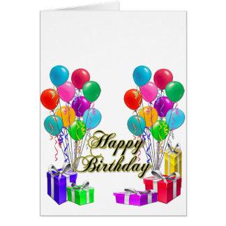 Grattis på födelsedagenkort med ballonger och hälsningskort