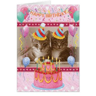 Grattis på födelsedagenkort med lyckliga katter hälsningskort