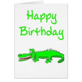 Grattis på födelsedagenkort med tecknadkrokodilen hälsningskort