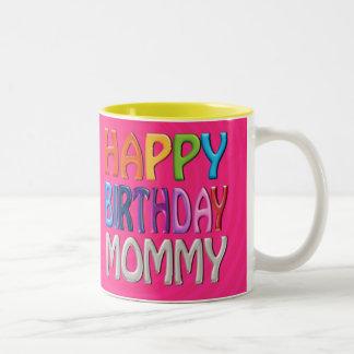Grattis på födelsedagenmammor - lycklig färgglad Två-Tonad mugg