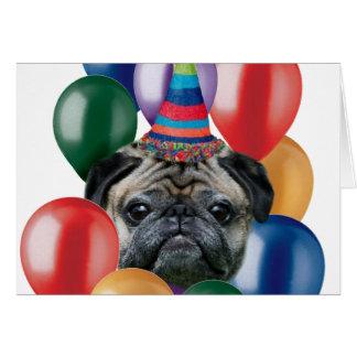 Grattis på födelsedagenmopshund hälsningskort