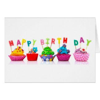 Grattis på födelsedagenmuffins hälsningskort
