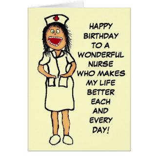 Grattis på födelsedagensjuksköterskatecknad hälsningskort