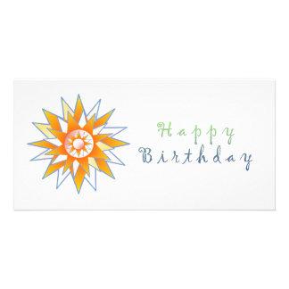 Grattis på födelsedagensolenergi Chakra Anpassade Foto Kort