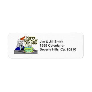 Grattis på födelsedagenspindelnätgamal man returadress etikett