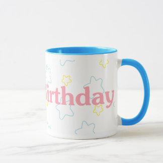 Grattis på födelsedagenstjärnor mugg
