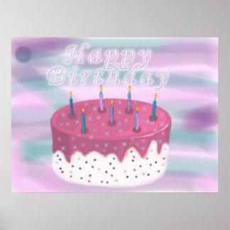 Grattis på födelsedagentårta affischer