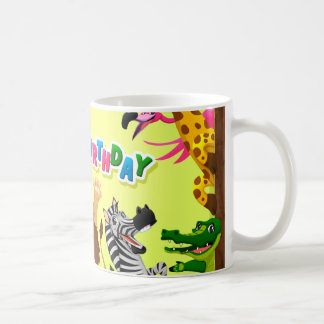 Grattis på födelsedagenzoodjur kaffemugg