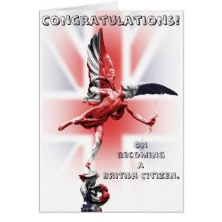 Grattis på passande en brittisk medborgare! hälsningskort